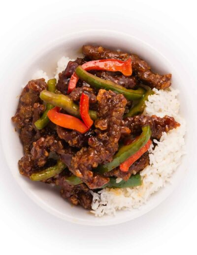 Szechuan Beef Rice with Red Peppers