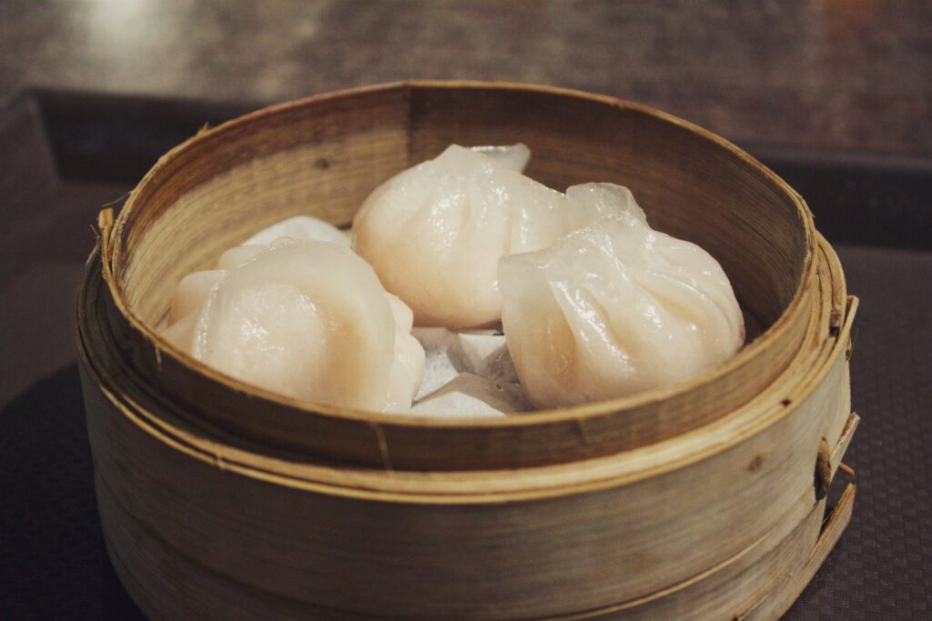 Chinese Dumplings in a wooden bowl
