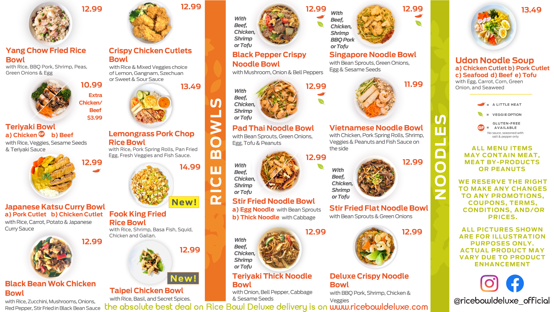 Rice Bowl Deluxe Menu Page 2